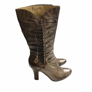 Facade Paula Metallic Genuine Leather Ruched Boots